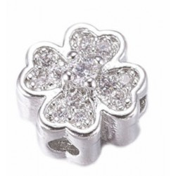 Real Platinum plated Flower Bead