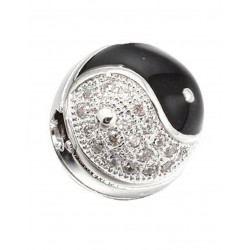 Cubic Zirconia and Enamel round Bead