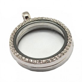 Round Flat Glass Magnetic Locket Pendant
