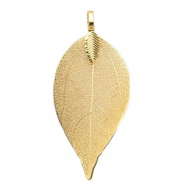 Brass Plated Natural Leaf Pendant