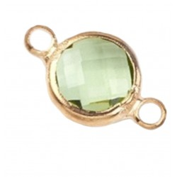 Faceted Flat Round Glass Link
